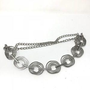 Chico's One Size Silver Tone Geometric Chain Belt